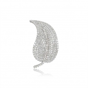 18k White Gold Diamond Set Leaf Brooch
